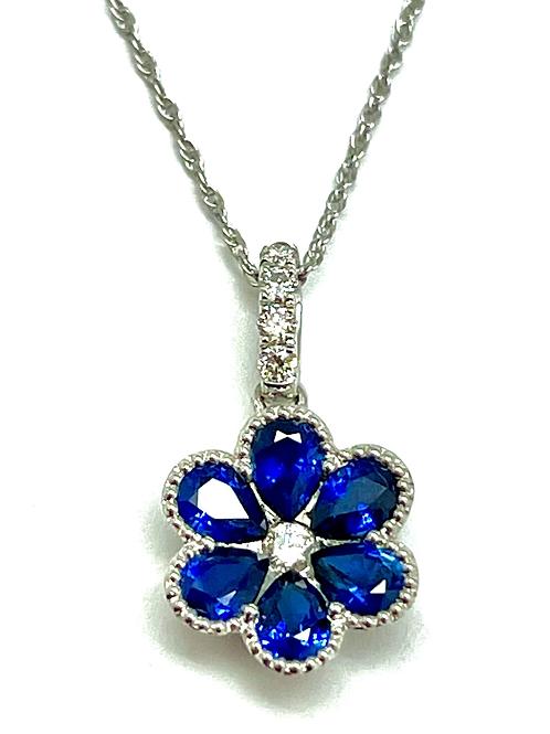 1.25ctw 18k White Gold Sapphire And Diamond Pendant