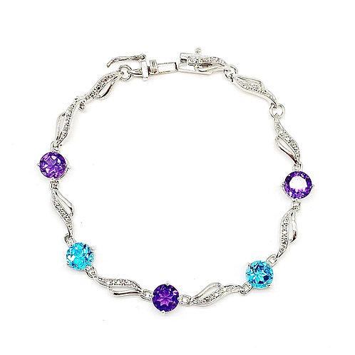 SS Blue Topaz and Amethyst Bracelet