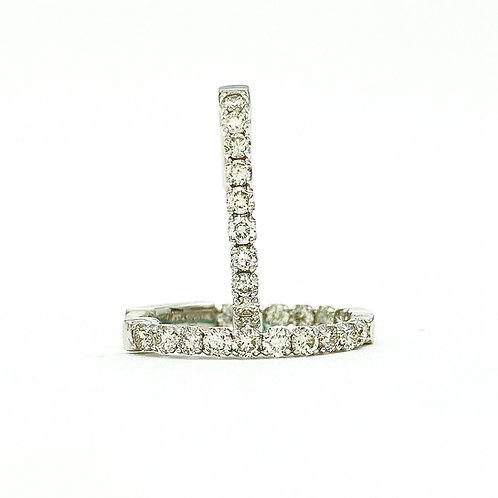 14KT White Gold Oval Diamond Hoops