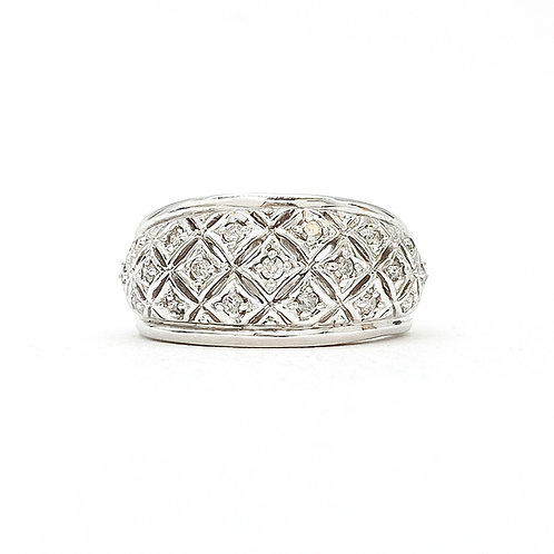 14KT White Gold Diamond Domed Band