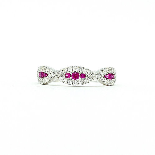 14KT White Gold Ruby and Diamond Band