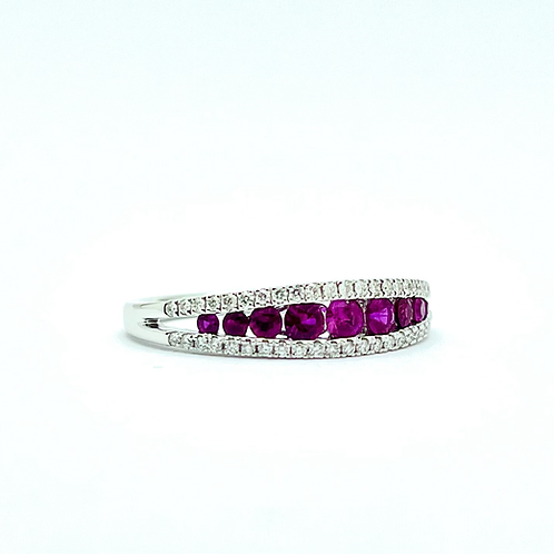.56ctw 14k White Gold Ruby And Diamond Band
