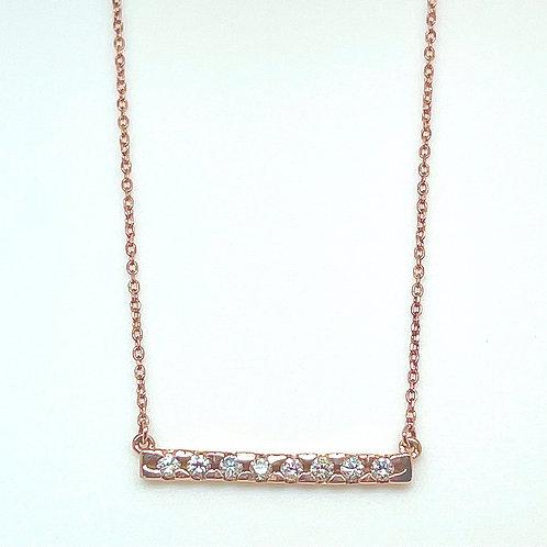 14k Rose Gold Diamond Bar Necklace
