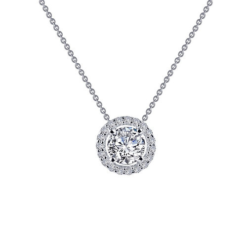 Round Solitaire Halo Pendant Lassaire Simulated Diamonds