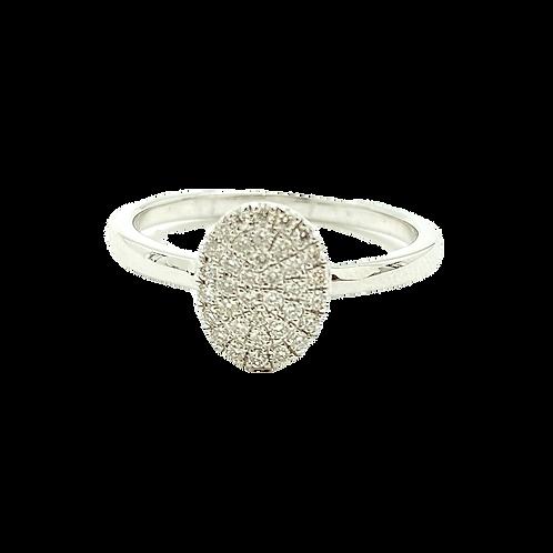 14KT White Gold Diamond Oval Ring