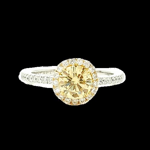 1.39ctw 14KT White Gold Fancy Light Yellow Diamond Ring