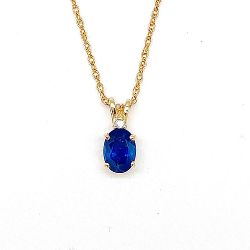 14KT Yellow Gold Sapphire and Diamond Pendant