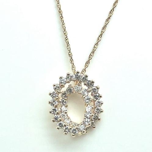 14k 1.00 Carat Total Diamond Circle Pendant
