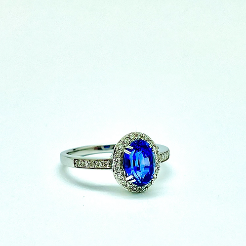 1.84ctw 14k White Gold Sapphire And Diamond Ring