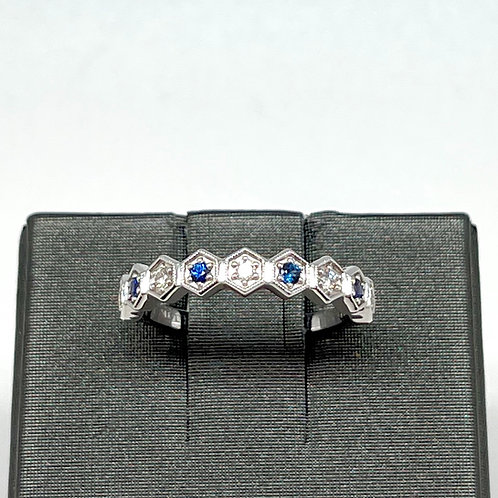 14k Stackable Sapphire And Diamond Band