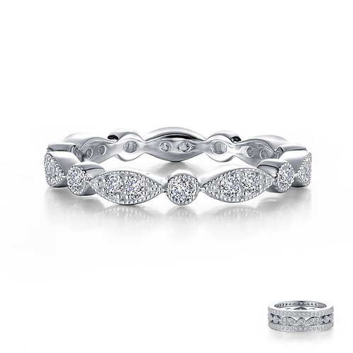 Stackable Wave Eternity Band Lassaire Simulated Diamonds