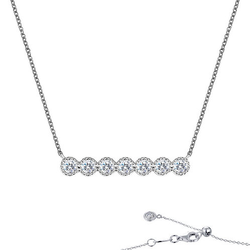 """7 Symbols of Joy"" Halo Bar Necklace Lassaire Simulated Diamonds"