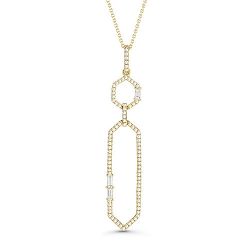 14KT Yellow Gold Geometric Diamond Pendant