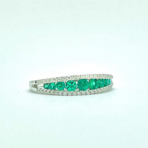 .49ctw 14k White Gold Emerald And Diamond Band