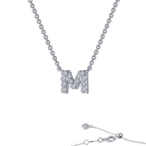 "Dainty Designer Block ""M"" Necklace Lassaire Simulated Diamonds"