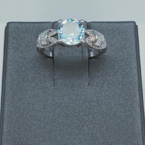 Platinum Aquamarine And Diamond Ring