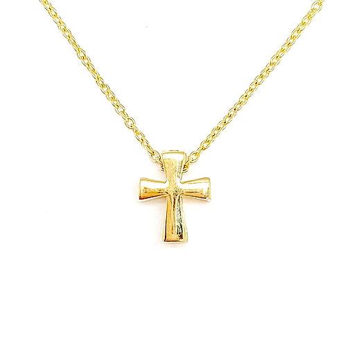 "14KT Yellow Gold Cross Pendant 17"""