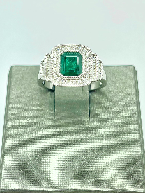 14kw 1.26 Carat Total Emerald And Diamond Ring