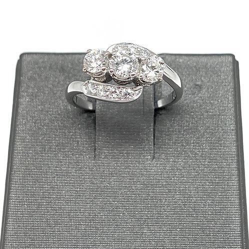 1.10ctw 14k Three Stone Diamond Ring