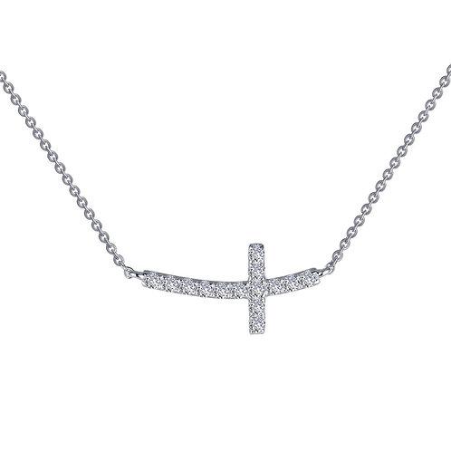 Simple Sideways Cross Necklace Lassaire Simulated Diamonds