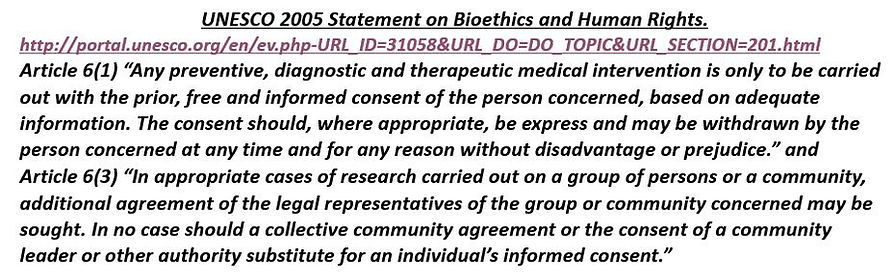 UNESCO 2005 Statement on Bioethics and H