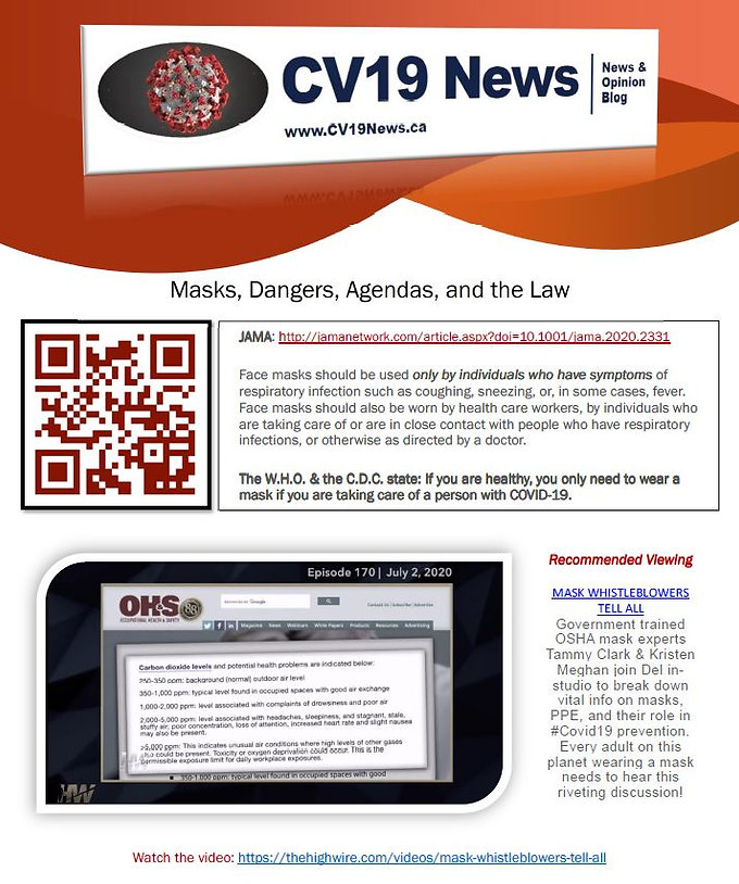 CV19News - Masks, Dangers, Agendas, and