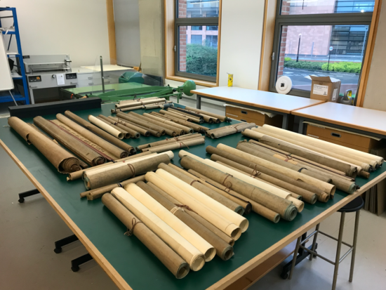 85 rolls form the Kings Library arrived for conservation at The British Library