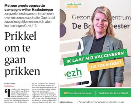 EZH campagne 'Vaccineren doe je voor elkaar' in de Tubantia