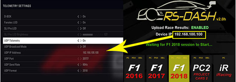 RS Dash F1 2018 setup instruction