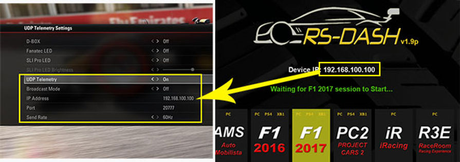 RS Dash F1 2017 setup instruction