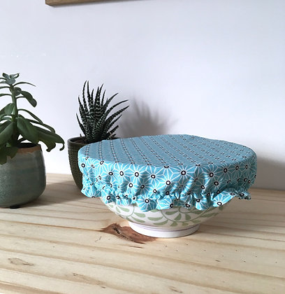 Couvre-plat réversible - bol moyen - bleu et bleu