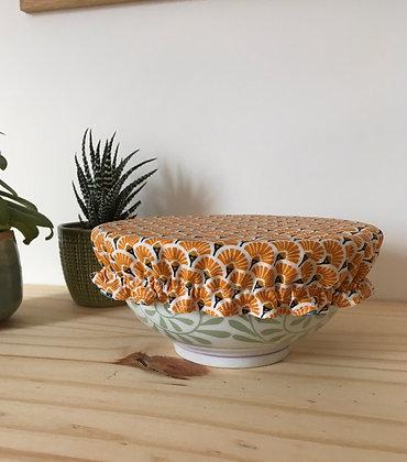 Couvre-plat réversible - bol moyen - orange et bleu