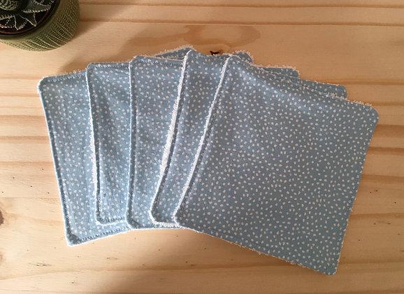 Lot de 5 lingettes bébé/enfant - bleu à pois blancs