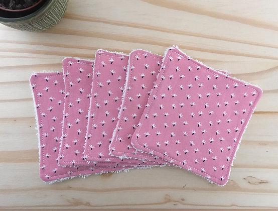 Lot de 5 carrés démaquillants - rose avec fleurs blanches