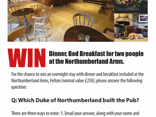 Win an overnight stay at the Northumberland Arms, Felton