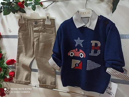 Σετ πουλόβερ πουκάμισο & παντελόνι για αγόρι RESTAST