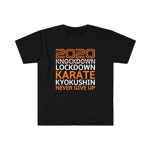 2020 Lockdown Karate - Men's Fitted Short Sleeve Tee - Orange and White