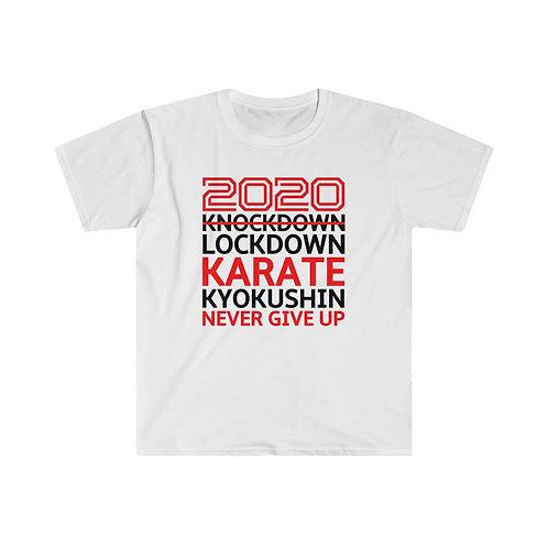 2020 Lockdown Karate - Men's Fitted Short Sleeve Tee - Red and Black