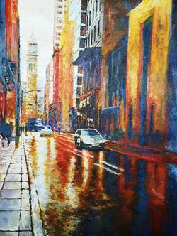 On a Rainy Day, Acrylic on Canvas, 41 x 53 cm