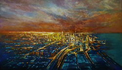 Celebration of Lights, Acrylic on Canvas, 124 x 72 cm