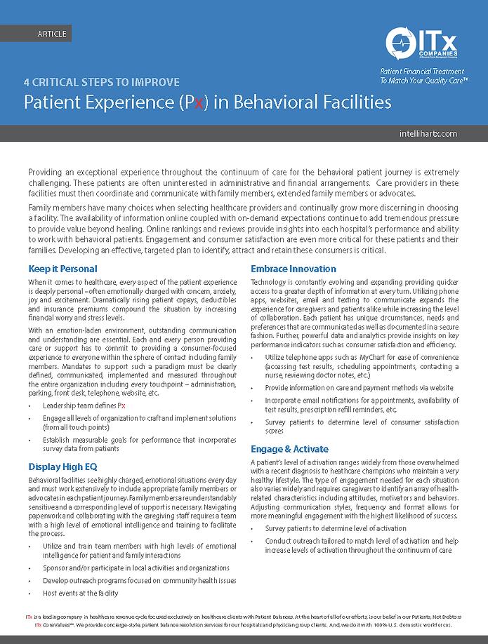 4 Critical Steps Improve Px for Behavior