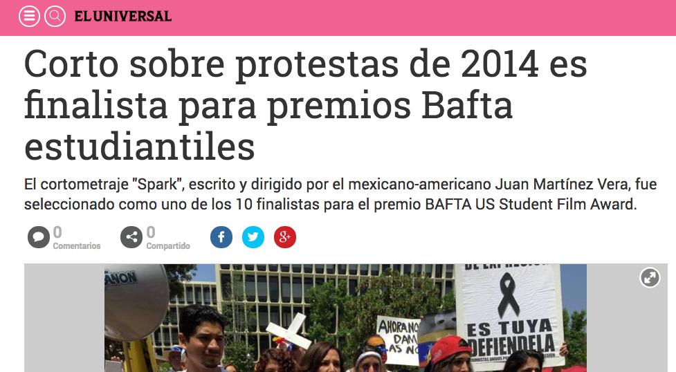 Corto sobre protestas de 2014 es fin