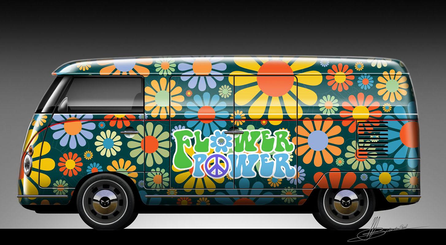 Retro Splitwindow Bus Flowerpower