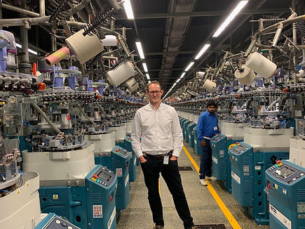 Soxsmith's Founder Ben Pain at a sock factory