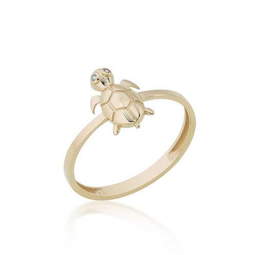 14 Ayar Altın Kaplumbağa Figürlü Yüzük