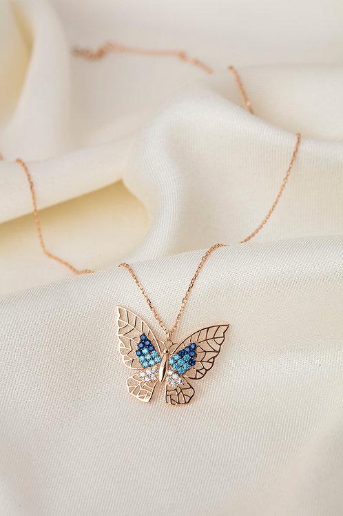 Renkli Taşlı Kolyeler-Butterfly