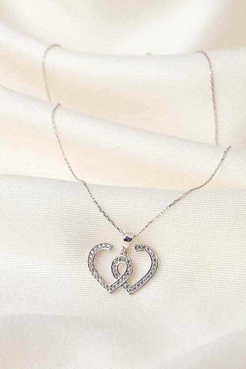 Baget Taşlı Kolyeler-İki Kalp