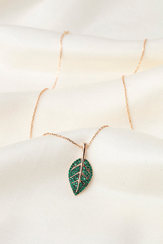 Renkli Taşlı Kolyeler-Green Leaf
