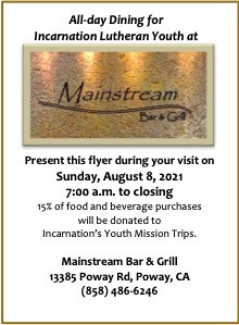Dinner At Mainstream Bar and Grill - August 8th, 2021