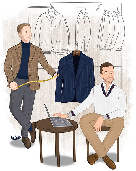 Silkxchange founders, John Wojcik and Chris Siakkas, portrayed by classic menswear illustrator @SenhorFato